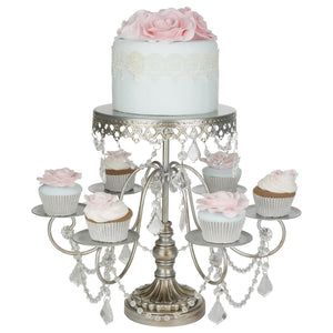 6 + 1 Antique Silver Cupcake and Cake Stand | Amalfi Decor AU