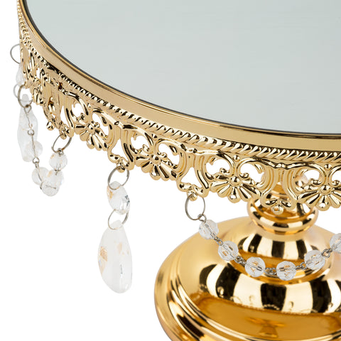 10 Inch Shiny Gold Plated Mirror Top Cake Stand | Amalfi Decor AU