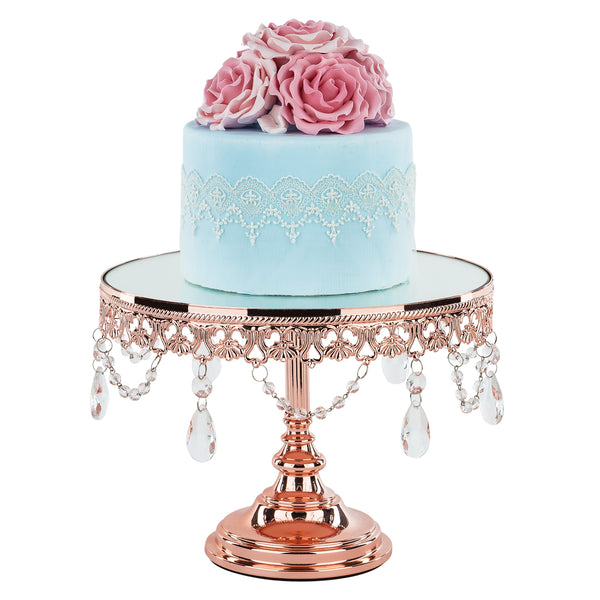 10 Inch Shiny Rose Gold Plated Mirror Top Cake Stand | Amalfi Decor AU