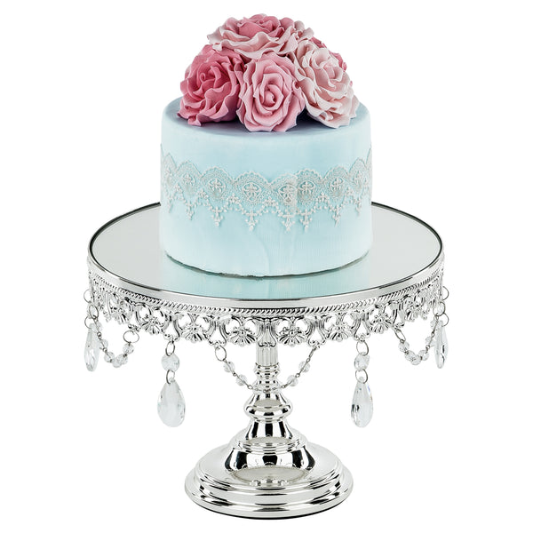 10 Inch Shiny Silver Chrome Plated Mirror Top Cake Stand | Amalfi Decor AU