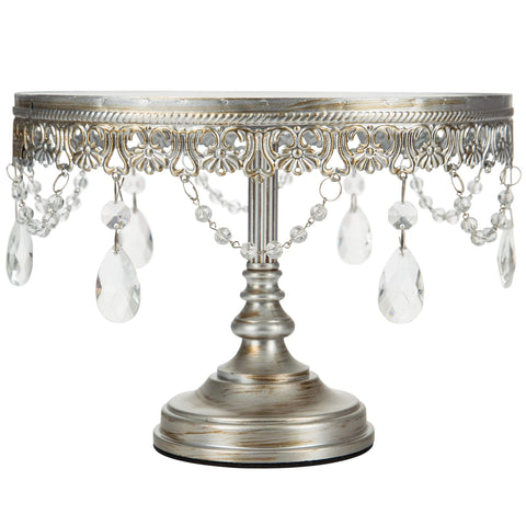 10-Inch Antique Silver Mirror Cake Stand | Amalfi Decor AU