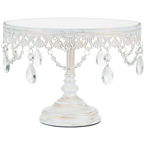 25 cm (10-inch) Mirror Top Cake Stand | Whitewashed | Anastasia Collection CS307AWG