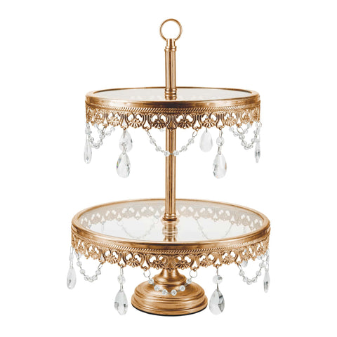 2-Tier Antique Gold Glass Top Cupcake Stand | Amalfi Decor AU