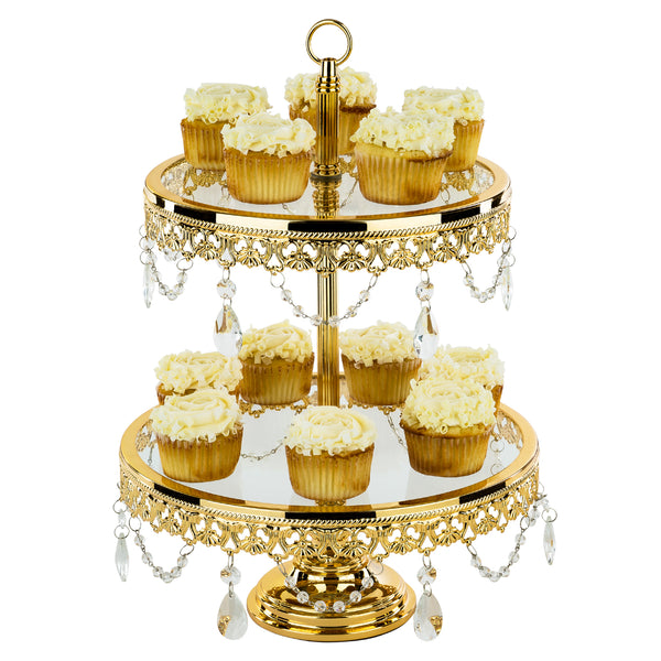 2-Tier Shiny Gold Plated Glass Top Cupcake Stand | Amalfi Decor AU