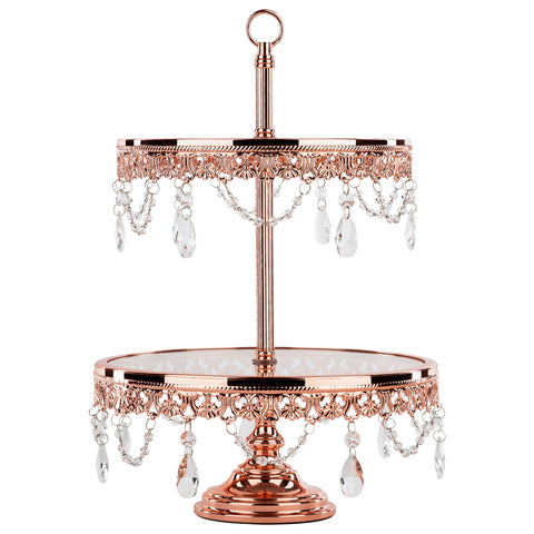2-Tier Shiny Rose Gold Plated Glass Top Cupcake Stand | Amalfi Decor AU