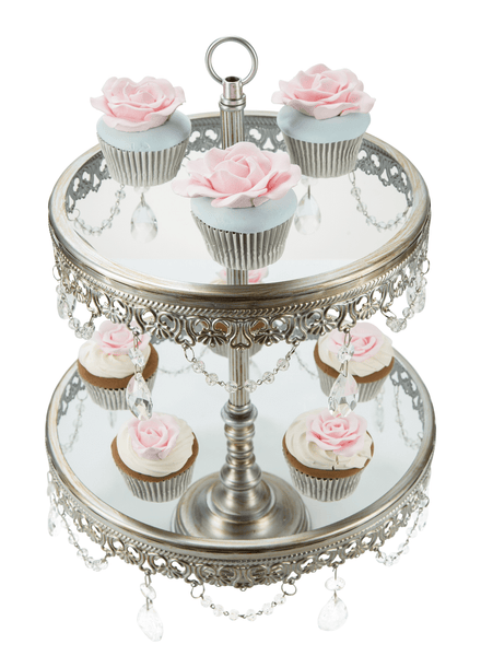 2-Tier Antique Silver Glass Top Cupcake Stand | Amalfi Decor AU