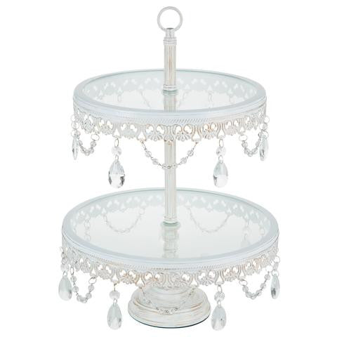 2-Tier Antique White Glass Top Cupcake Stand | Amalfi Decor AU