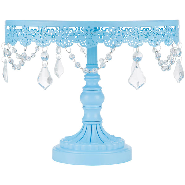 10-Inch Crystal-Draped Blue Cake Stand | Amalfi Decor AU