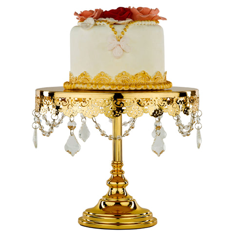 10-Inch Crystal-Draped Gold Plated Cake Stand | Amalfi Decor AU