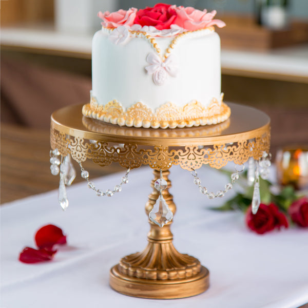 10-Inch Crystal-Draped Gold Cake Stand | Amalfi Decor AU
