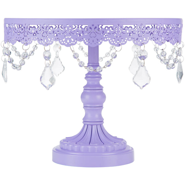 10-Inch Crystal-Draped Lavender Purple Cake Stand | Amalfi Decor AU