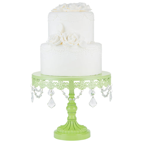 10-Inch Crystal-Draped Lime Green Cake Stand | Amalfi Decor AU