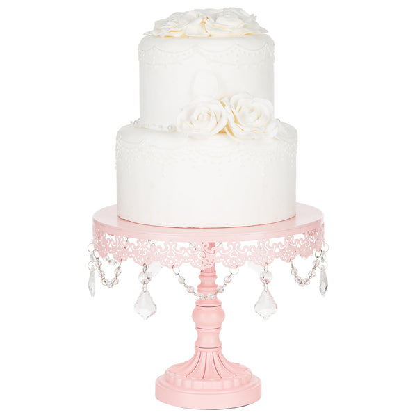 10-Inch Crystal-Draped Pink Cake Stand | Amalfi Decor AU