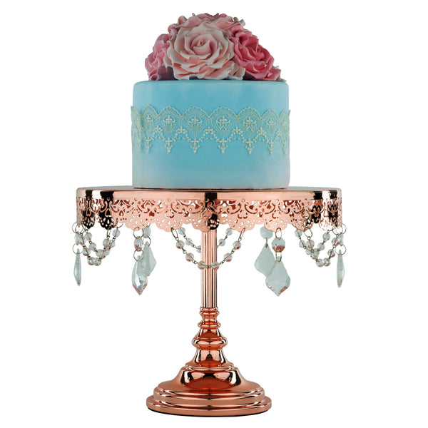 10-Inch Crystal-Draped Rose Gold Plated Cake Stand | Amalfi Decor AU