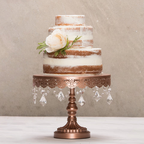 10-Inch Crystal-Draped Rose Gold Cake Stand | Amalfi Decor AU