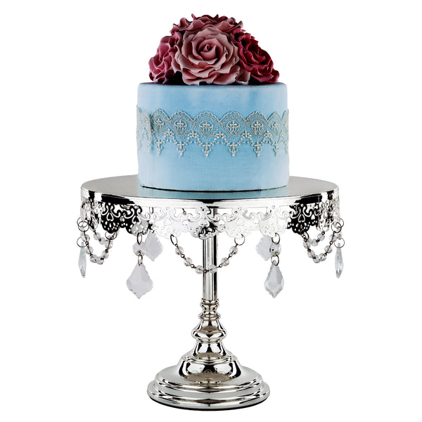 10-Inch Crystal-Draped Silver Plated Cake Stand | Amalfi Decor AU