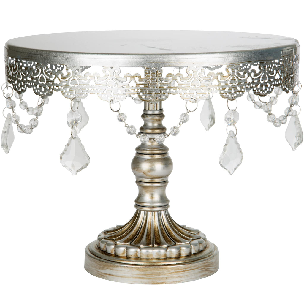 10-Inch Crystal-Draped Silver Cake Stand | Amalfi Decor AU