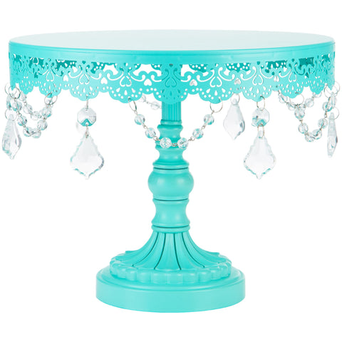 10-Inch Crystal-Draped Teal Cake Stand | Amalfi Decor AU