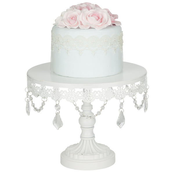 10-Inch Crystal-Draped White Cake Stand | Amalfi Decor AU