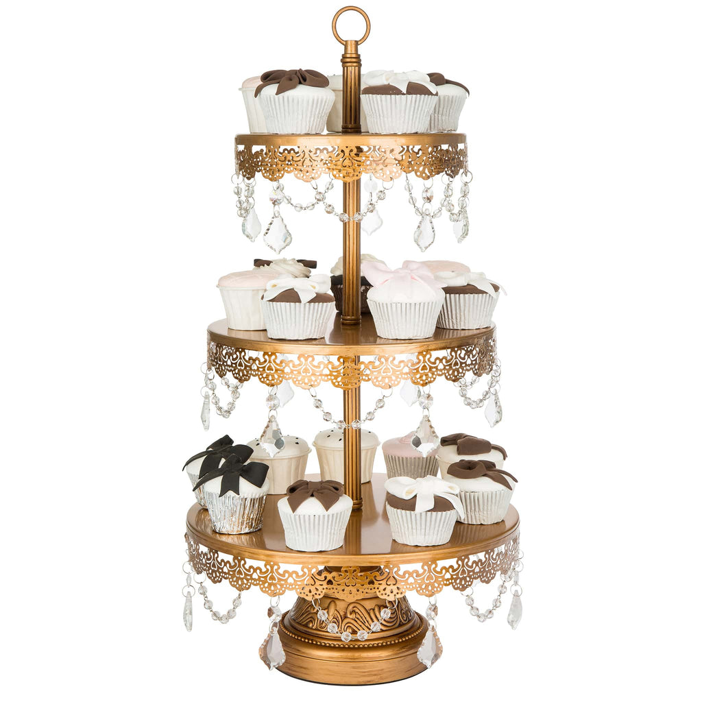 3 Tier Crystal Draped Antique Gold Cupcake Stand Amalfi Decor Au Cake