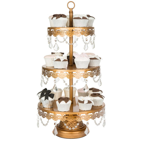 3-Tier Crystal-Draped Antique Gold Cupcake Stand | Amalfi Decor AU