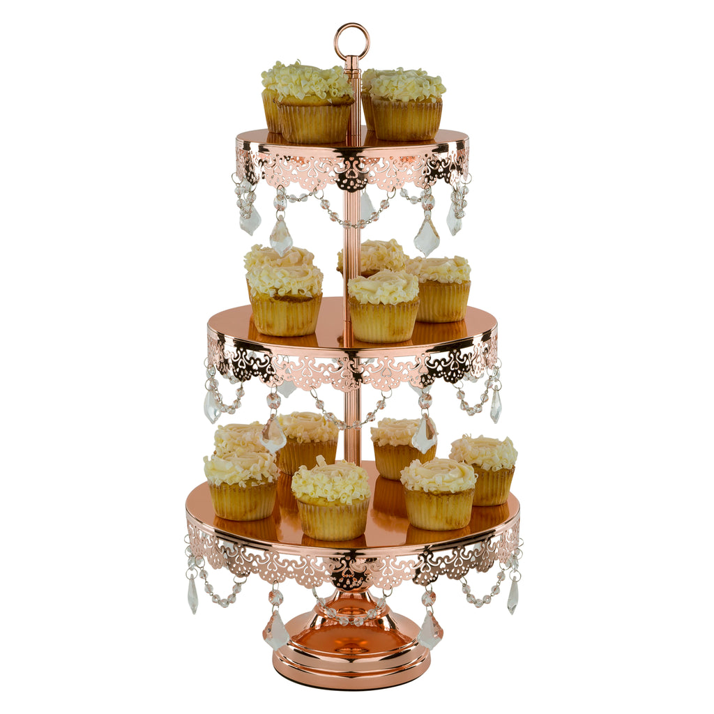 3-Tier Crystal-Draped Rose Gold Plated Cupcake Stand | Amalfi Decor AU