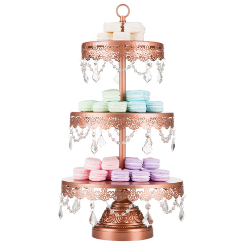 3-Tier Crystal-Draped Rose Gold Cupcake Stand | Amalfi Decor AU