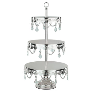 3-Tier Crystal-Draped Silver Plated Cupcake Stand | Amalfi Decor AU