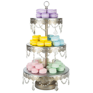 3-Tier Crystal-Draped Antique Silver Cupcake Stand | Amalfi Decor AU