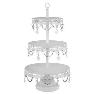 3-Tier Crystal Draped Dessert Cupcake Stand