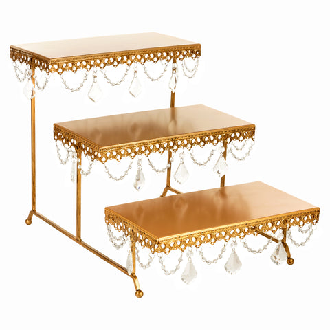 3-Tier Serving Platter and Cupcake Stand with Crystals (Gold)