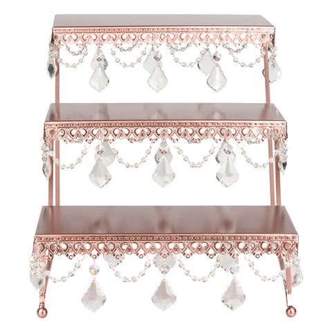 3-Tier Serving Platter and Cupcake Stand with Crystals (Rose Gold)