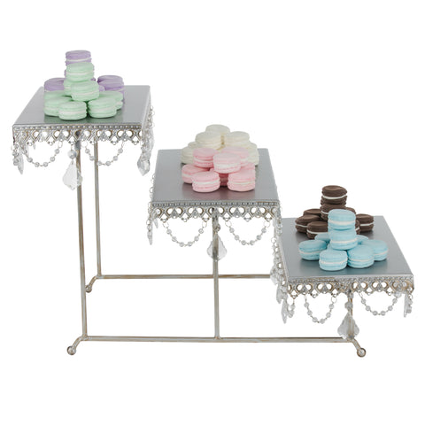 3-Tier Serving Platter and Cupcake Stand with Crystals (Silver)