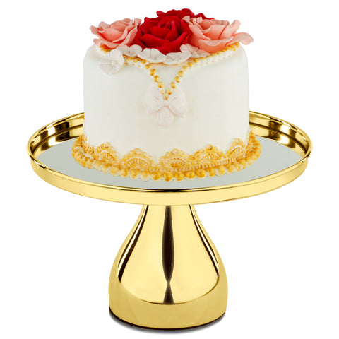 25 cm (10-inch) Gold Plated Round Mirror-Top Modern Cake Stand | Amalfi Decor AU