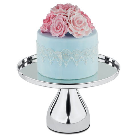 25 cm (10-inch) Silver Plated Round Mirror-Top Modern Cake Stand | Amalfi Decor AU