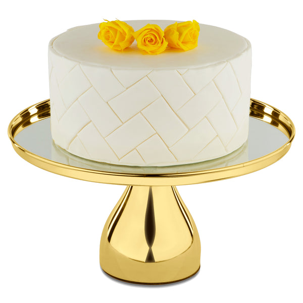 30 cm (12-inch) Gold Plated Round Mirror-Top Modern Cake Stand | Amalfi Decor AU