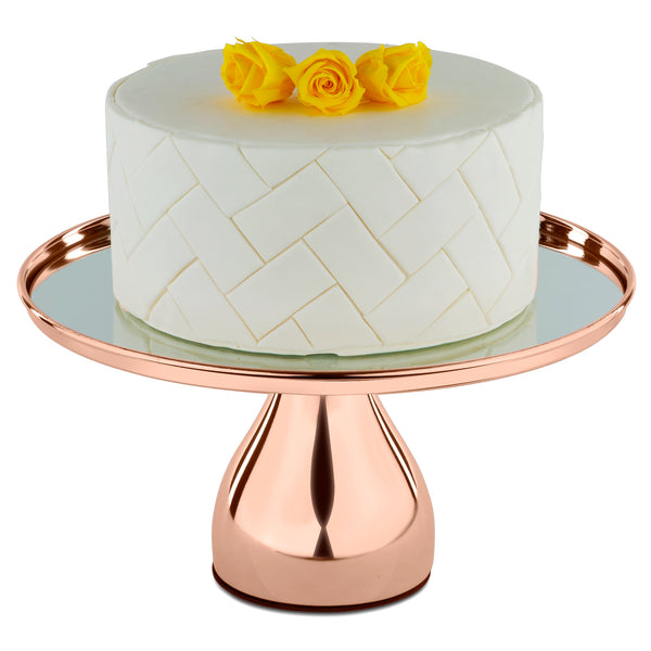 30 cm (12-inch) Rose Gold Plated Round Mirror-Top Modern Cake Stand | Amalfi Decor AU