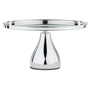 30 cm (12-inch) Silver Plated Round Mirror-Top Modern Cake Stand | Amalfi Decor AU