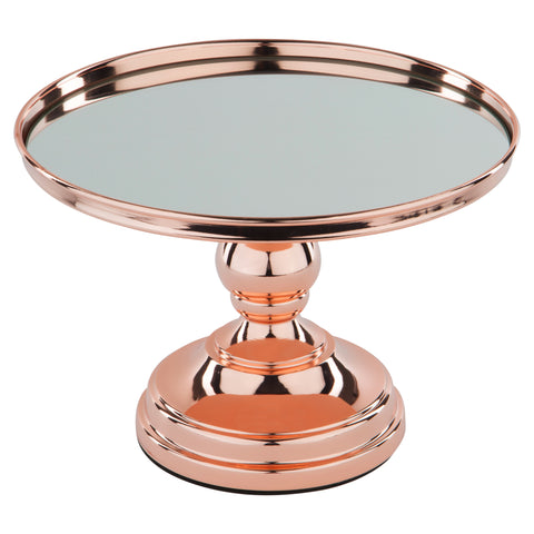 10-Inch Rose Gold Plated Modern Mirror Wedding Cake Stand | Amalfi Decor AU
