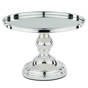 10-Inch Silver Plated Modern Mirror Wedding Cake Stand | Amalfi Decor AU