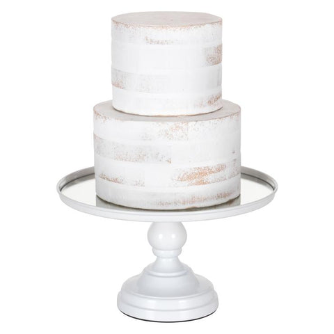 12 Inch Mirror-Top Cake Stand (White)  CS322W