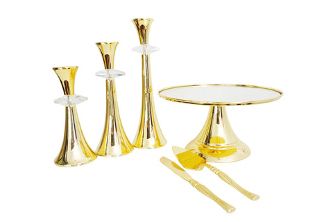 30 cm (12-inch) Round Modern Gold Plate  Mirror Cake stand  Angelique collection