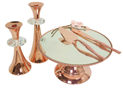 30 cm (12-inch) Round Modern Rose  Gold Plate  Mirror Cake stand  Angelique collection