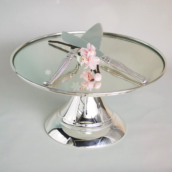 25 cm (10-inch) Round Modern Silver Plate  Mirror Cake stand  Angelique collecti