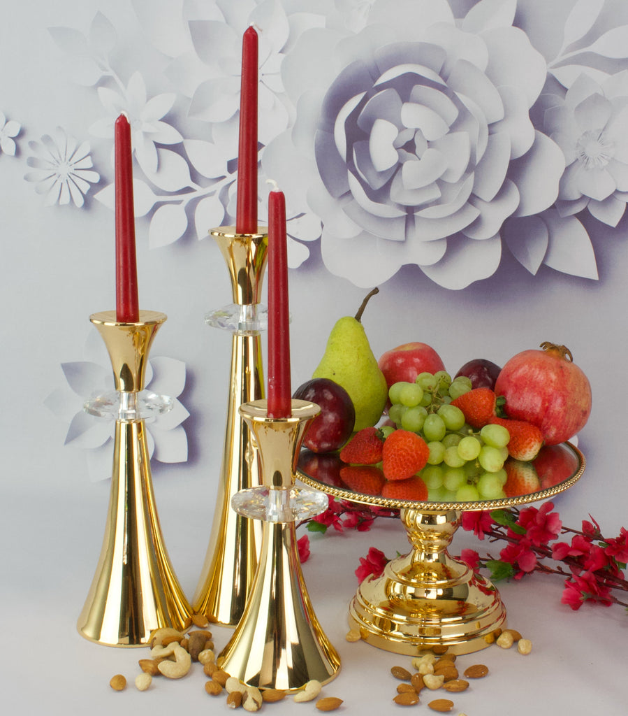 25cm Rope design cake stand with  3 Candle Set  Gold