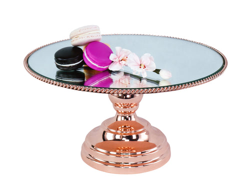 "25cm (10"") Rose  Gold Plated Mirror top with Rope Design  Juliette collection CJ25RG"