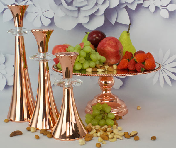 25cm Rope design cake stand with  3 Candle Set Rose Gold