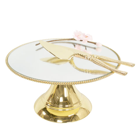 30cm (12inch) Gold Plated Mirror top with Rope Design  Flat top Alyssa collection