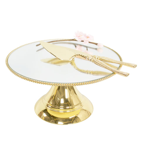 35cm (14 inch) Gold Plated Mirror top with Rope Design  Flat top Alyssa collection