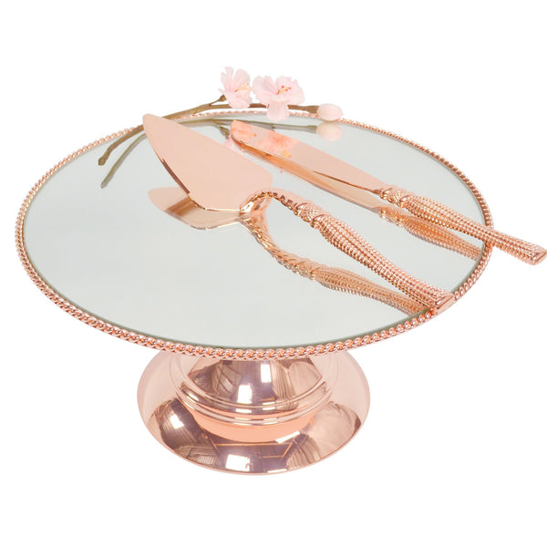 35cm (14 inch) Rose Gold Plated Mirror top with Rope Design  Flat top Alyssa collection